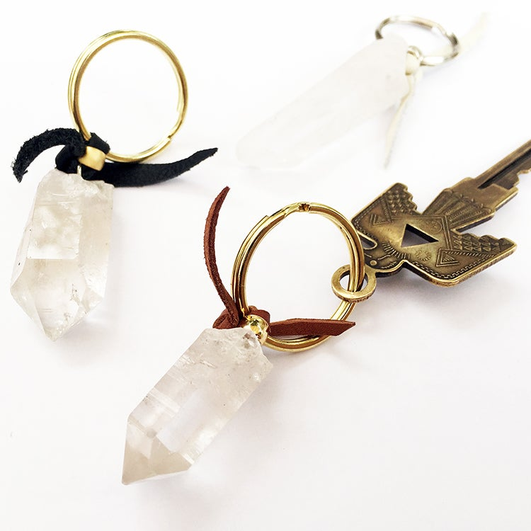 Image of LEATHER & CRYSTAL KEYCHAIN