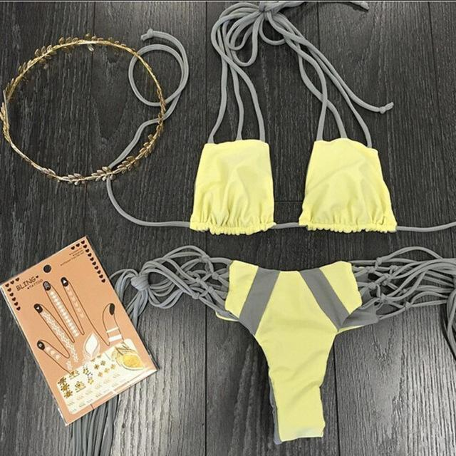 Image of SYNS GREY STRINGS BIKINI