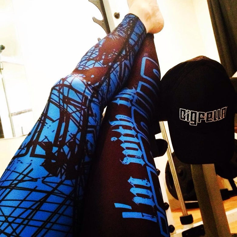 Image of GYM COMPRESSION-GIRL TIGHTS-BLUE