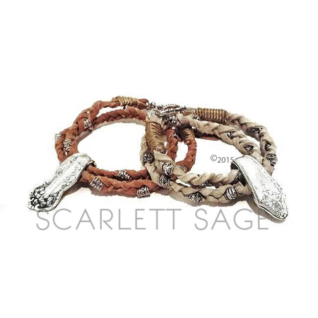 Image of Braided Leather Vintage Flatware Wrap Bracelet