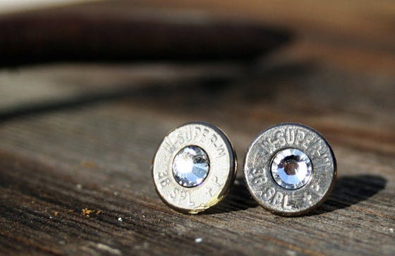 Image of 38 special Bullet Earrings- Silver/Nickel with colored stone