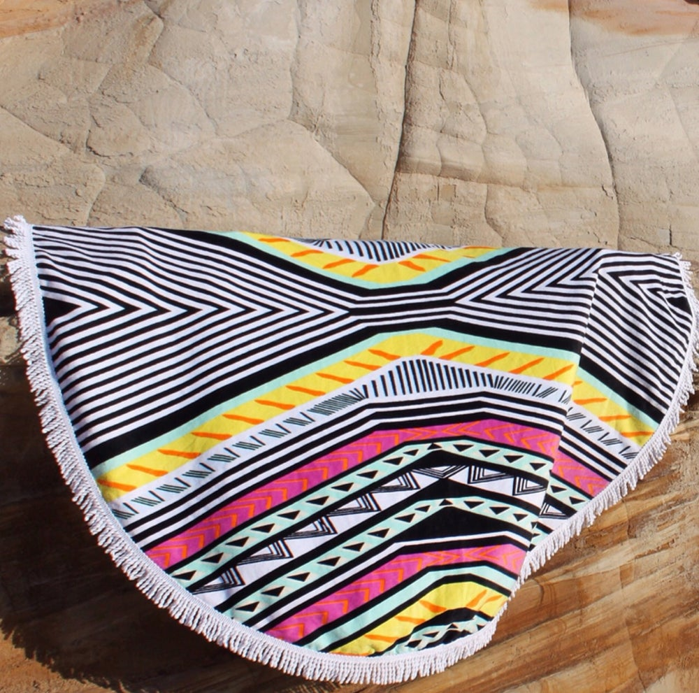 Image of Colourful Round Beach Towel