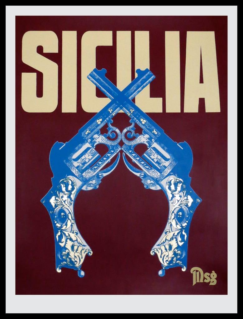 Image of Sicilia -Guns-Burgundy/Beige/Blue