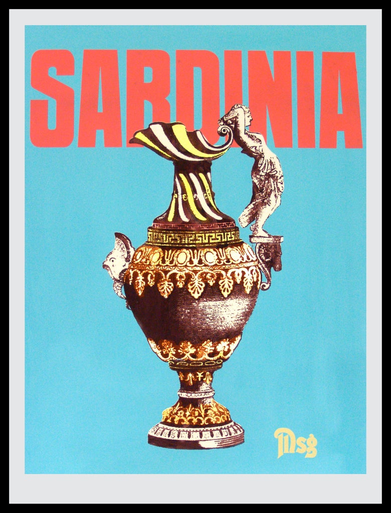 Image of Sardinia -Urn-Pastel Blue/Coral