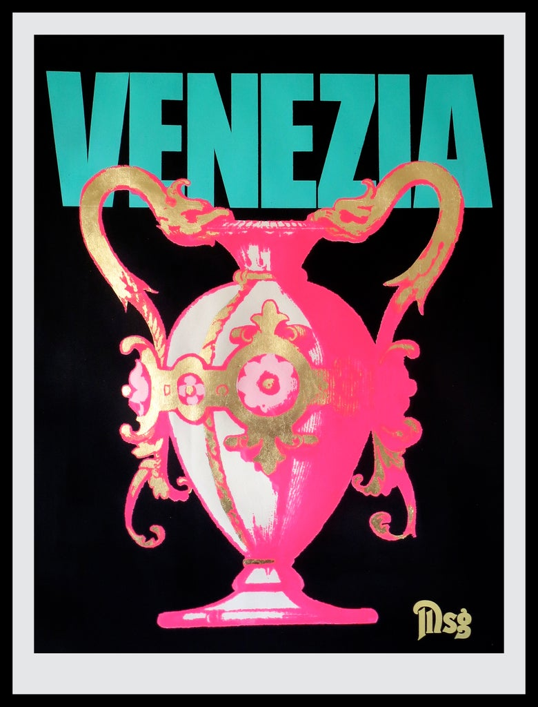 Image of Venezia -Urn-Black/Aqua/Hot Pink