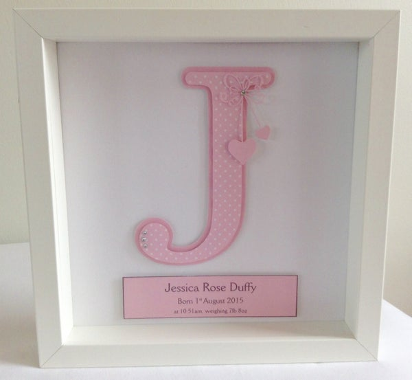 Image of Personalised Baby Girl Initial Frame