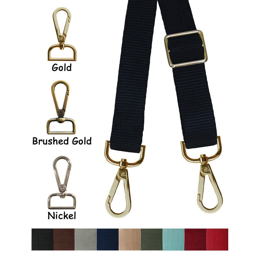 "Image of Nylon Webbing Shoulder Strap - Adjustable - 1"" (inch) Wide - Your Choice of Color, Length & Hook #14"