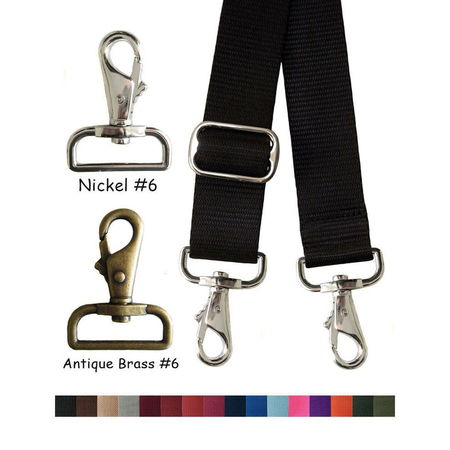 "Image of Nylon Webbing Strap - Adjustable - 1.5"" Wide - Choose Color, Length & Nickel / Antique Brass #6 Hook"