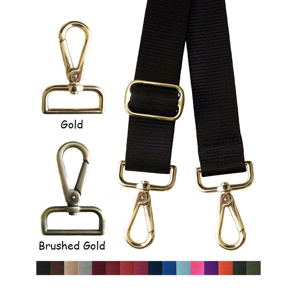 "Image of Nylon Webbing Strap - Adjustable - 1.5"" Wide - Choose Color, Length & Gold or Brushed Gold #14 Hooks"