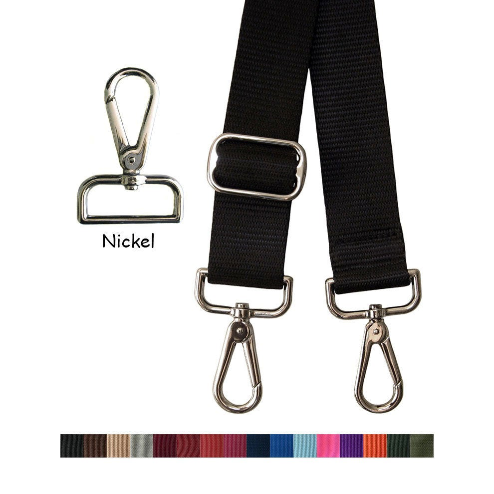 "Image of Nylon Webbing Strap - Adjustable - 1.5"" (inch) Wide - Choice of Color & Length with Nickel Hook #14"