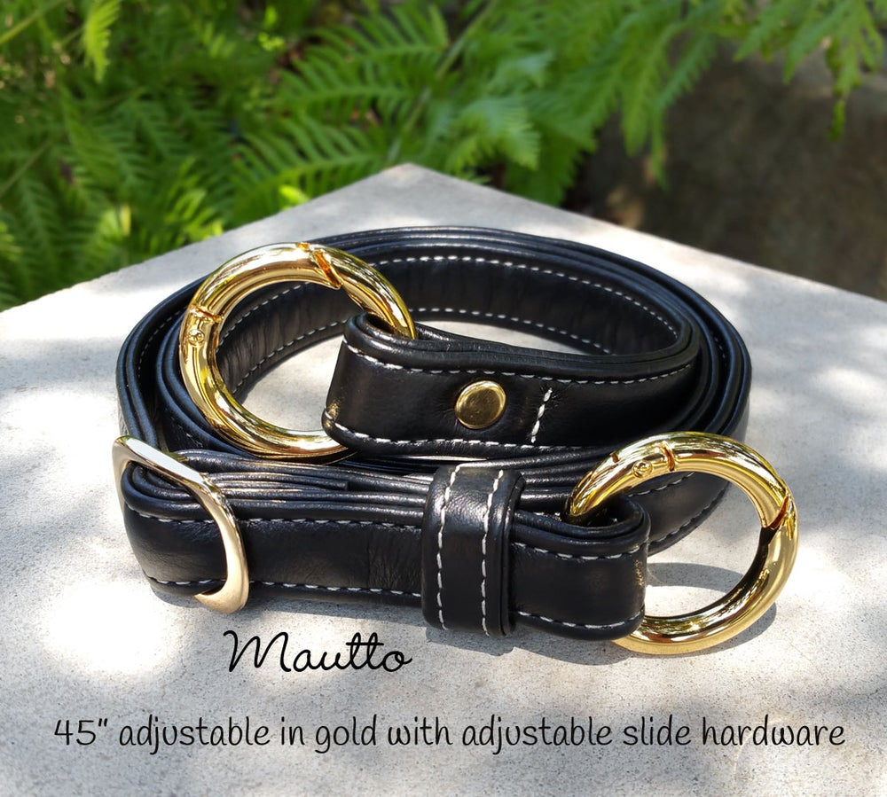 """Image of Black Leather Strap w/ White Stitching - .75"""" Wide - Choice of Length & O-Ring Hardware"""