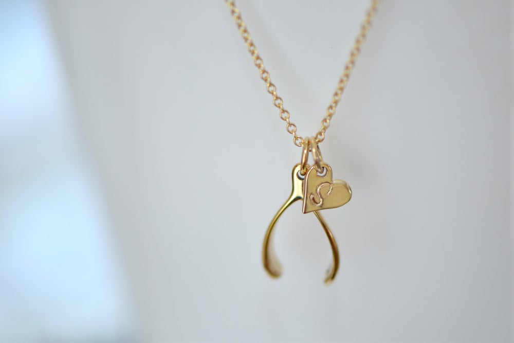 Image of Tiny Gold Wishbone Necklace, Heart Initial Disc Charm, Personalize Gold Necklace