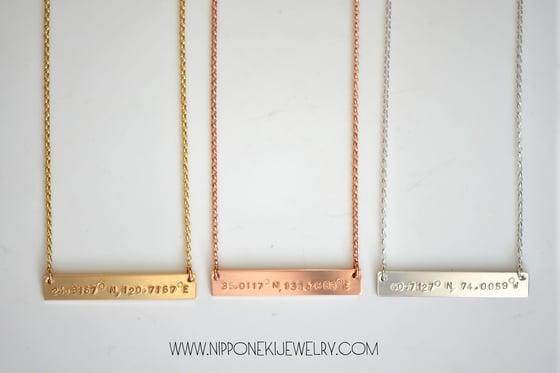 Image of Coordinates Bar Necklace, Coordinates Necklace - Longitude and Latitude