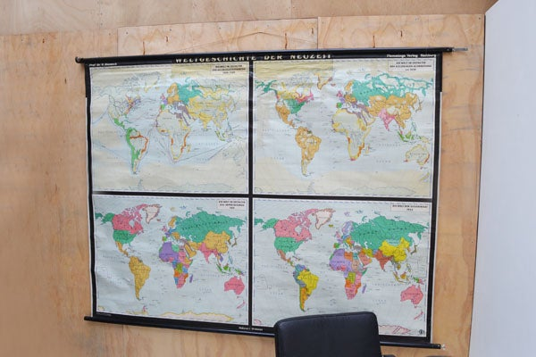 Image of Giant original 1950's historical/political classroom map of the world