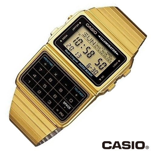 Image of Gold Finish Casio Digital Calculator Watch with Databank