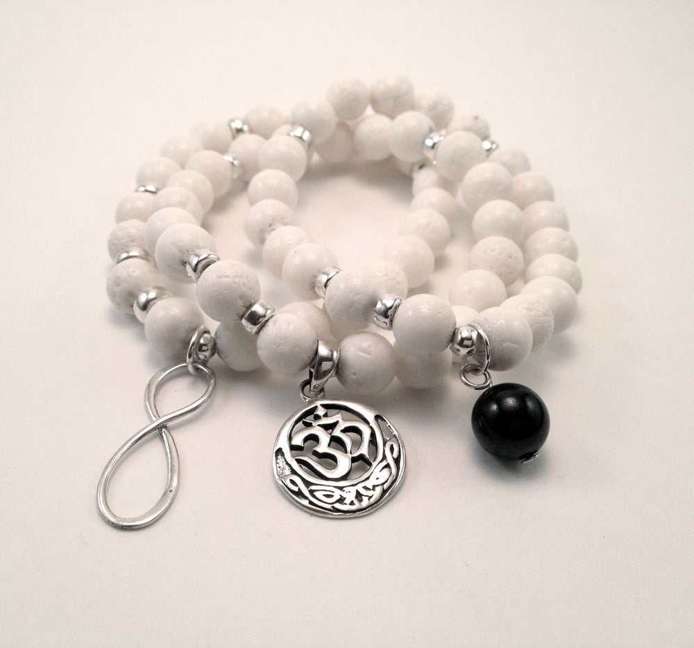 Image of White Coral Infinity Wrist Malas