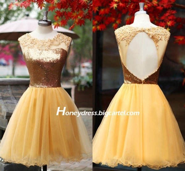 Image of Gold Tulle Strapless Sequins Cocktail Dress With Keyhole Back