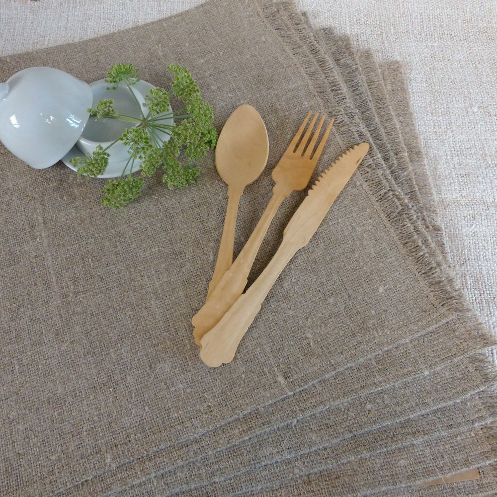Image of Set de table lin brut frangé