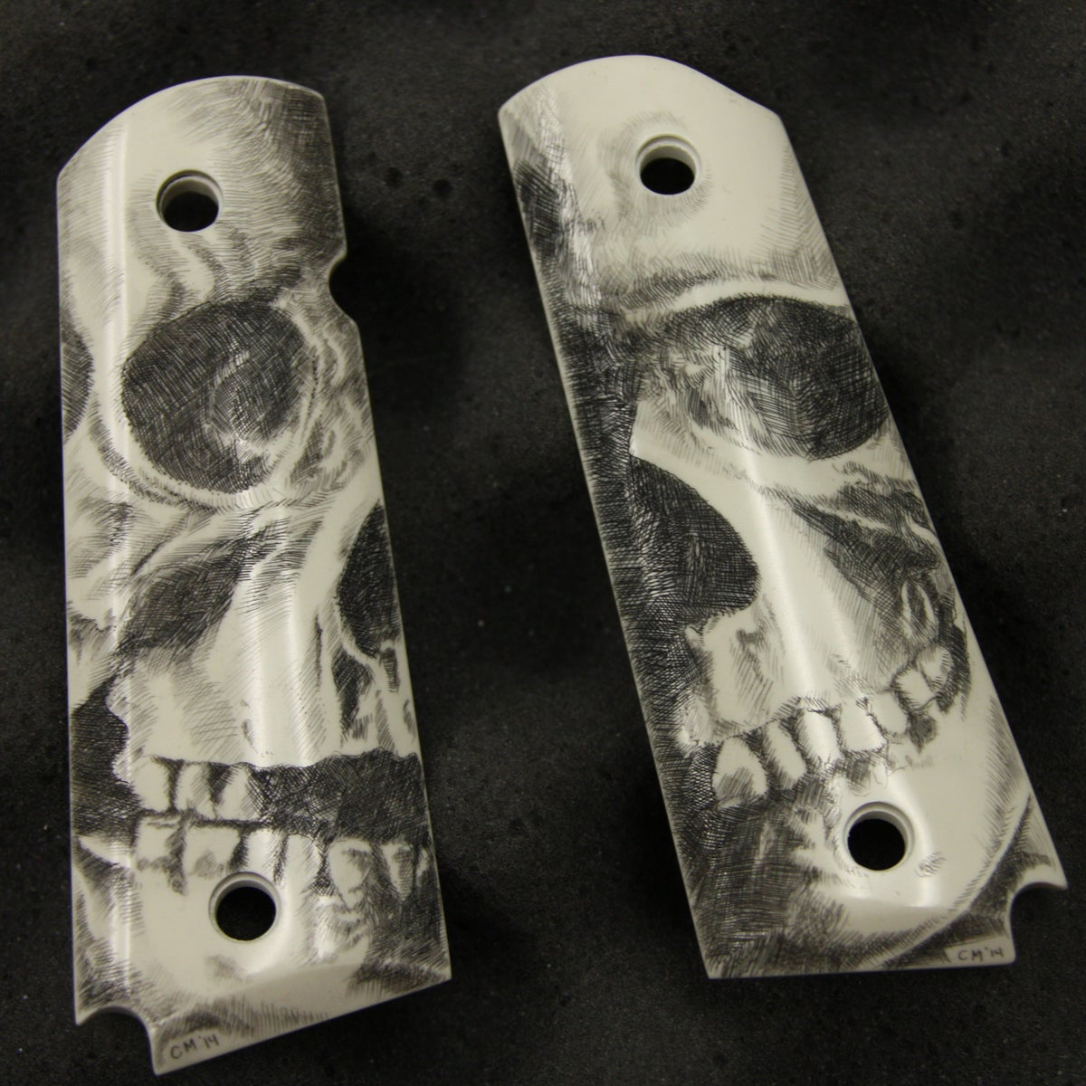 Scrimshaw Skull Grips 1911 Chris Mead Tattoos