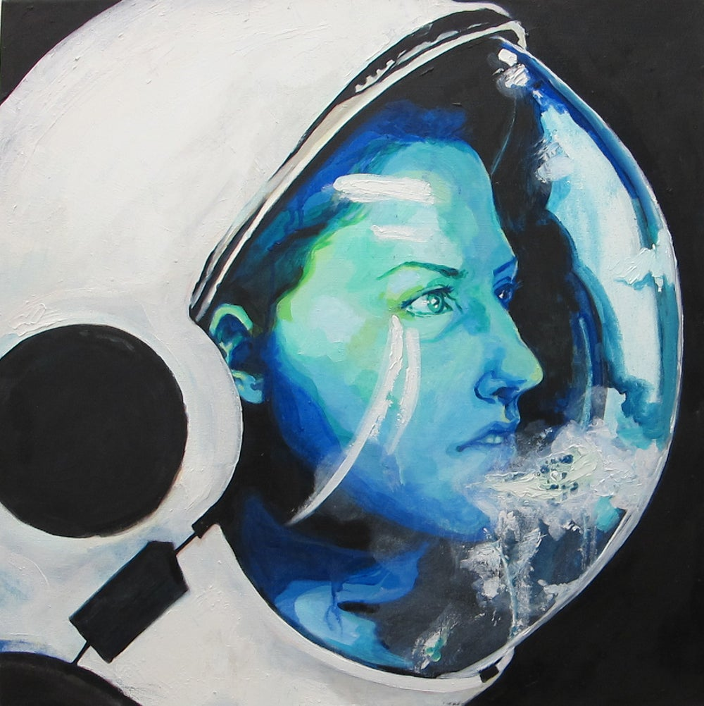 "Image of limited edition print of ""Astronaut with Breath on Helmet"""