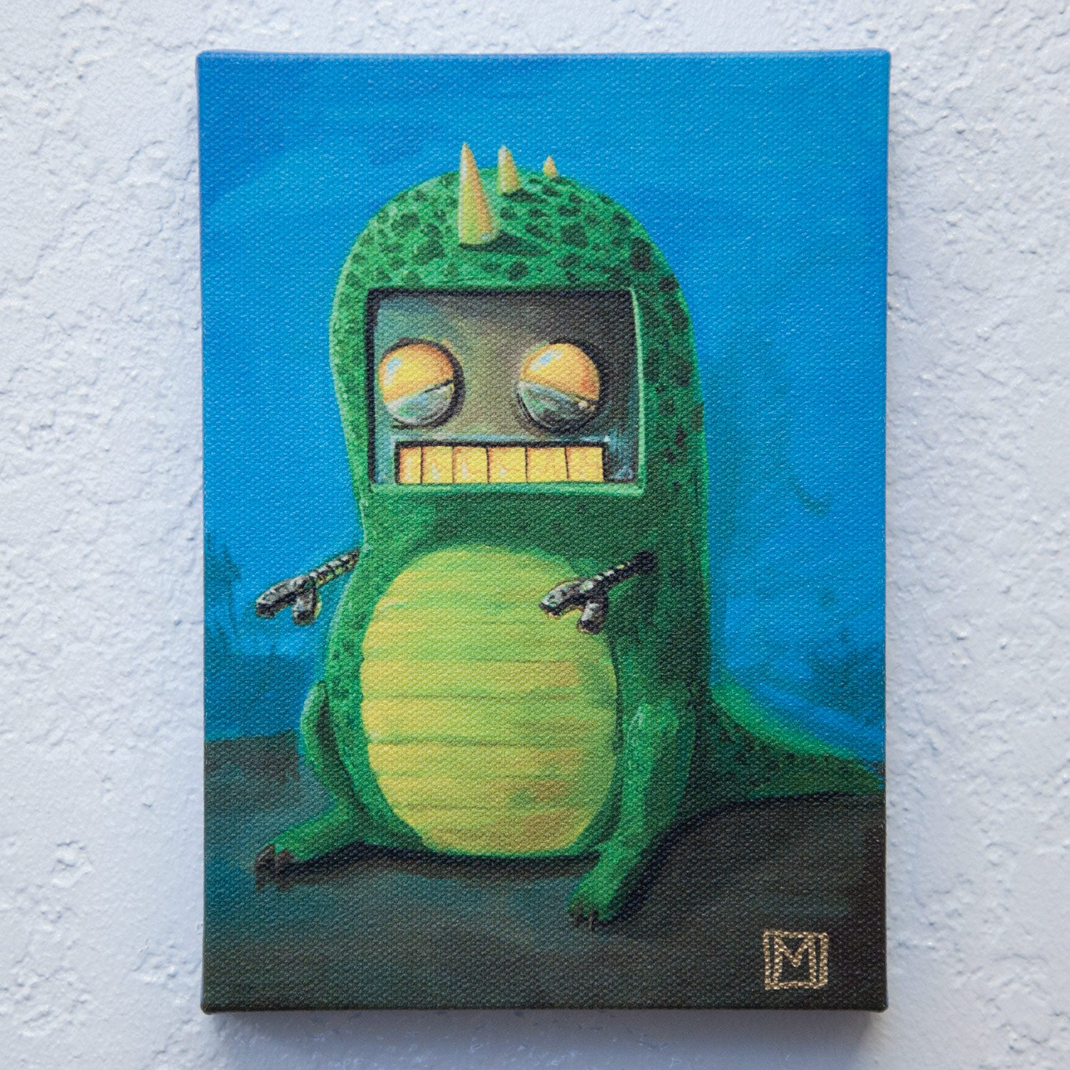 Image of Robot in a Dino Suit Print
