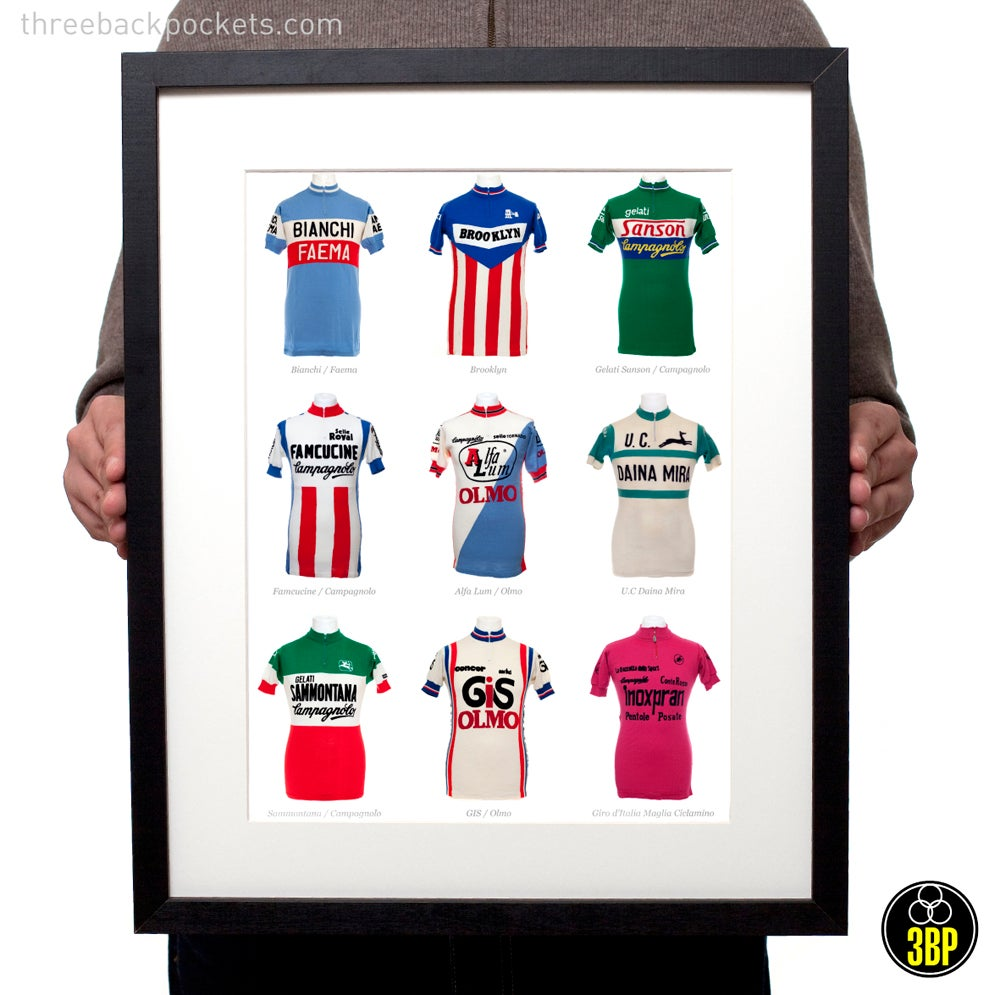 Image of Nine iconic italian cycling jerseys print