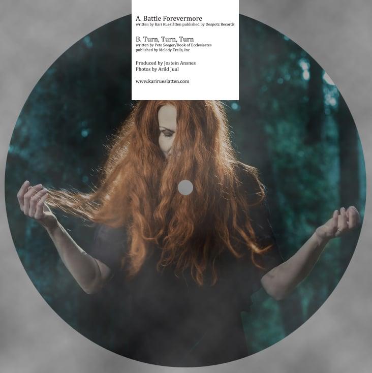 Image of Kari Rueslåtten - Battle Forevermore 7″ vinyl picture disc.