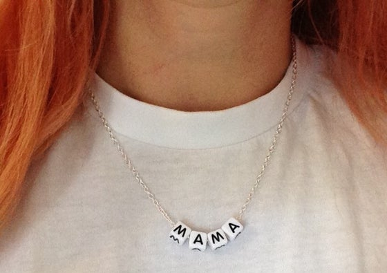 Image of silver chain mama necklace