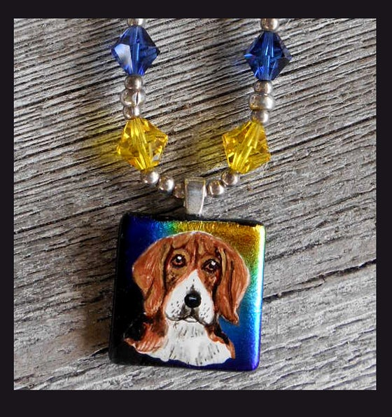 Image of Beagle Glass Dichroic Swarovski Crystal Sterling Silver Necklace  0123