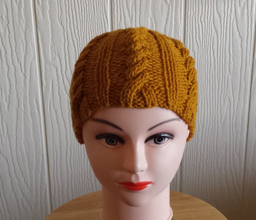 Image of Cable Knit Cap in Gold