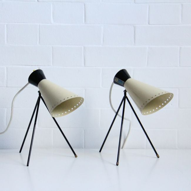Image of pair of atomic style mid-century lights by josef hurka c 1960