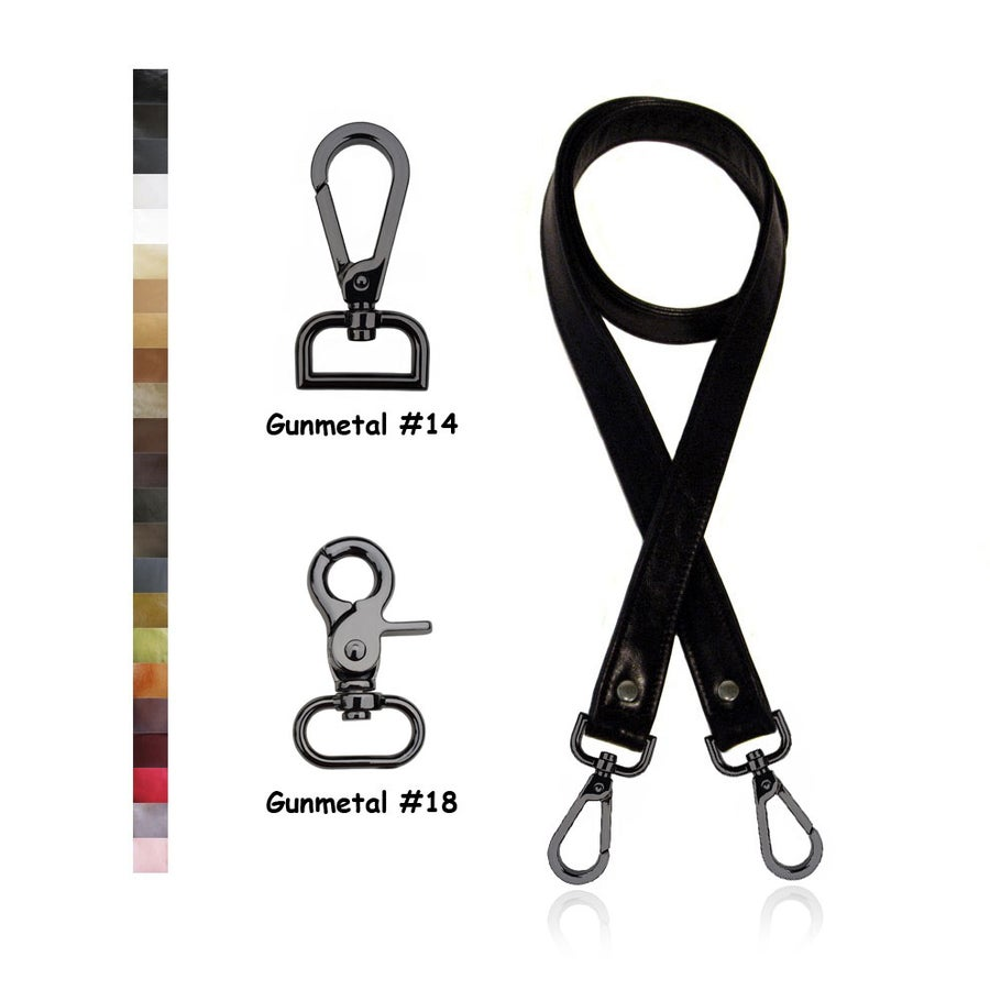"Image of SALE! Genuine Leather Cross Body Strap - 1"" Wide & Gunmetal Hooks - Choice of 25 Colors & Length"