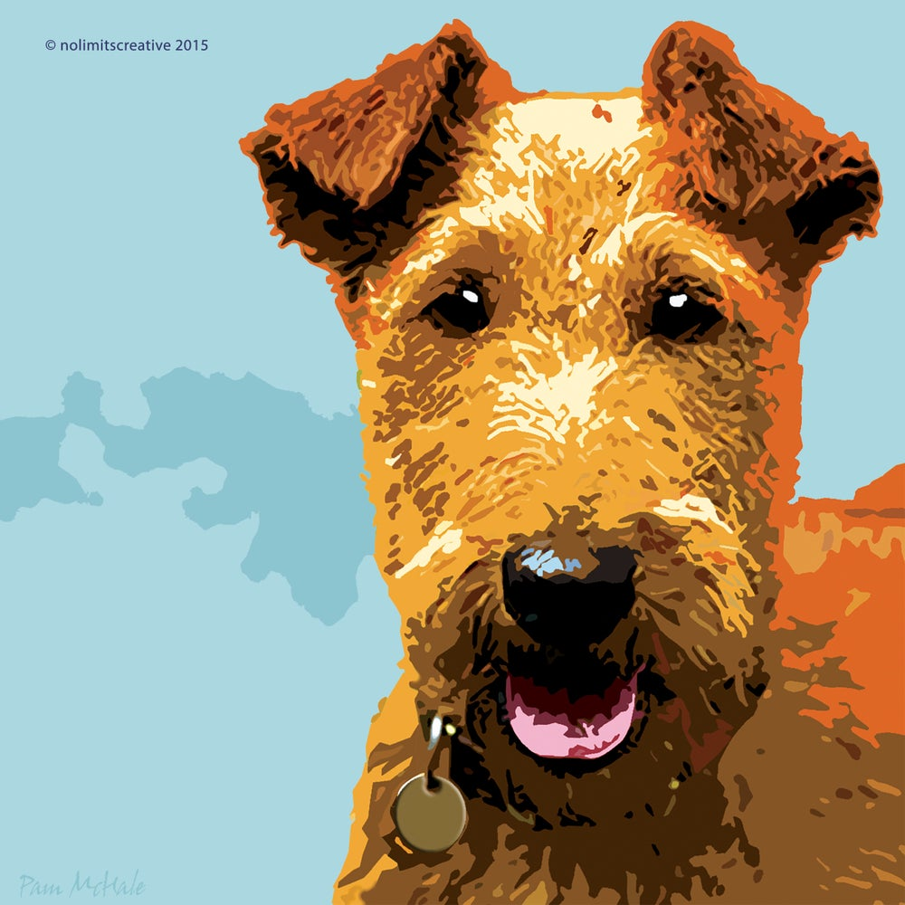 Image of Irish Terrier Print -blue