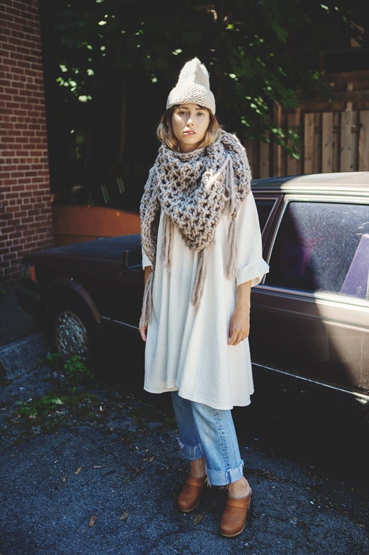 Image of Belleville shawl/cowl/wrap w/ fringe (shown in fawn-more colours)