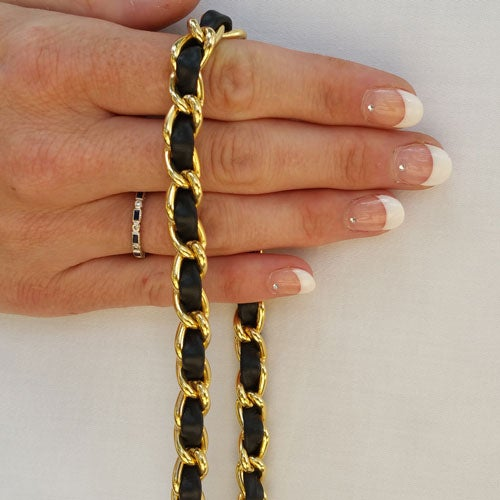 Image of Classic GOLD Chain Bag Strap with Leather Weaved Through - Choice of Length & Hooks