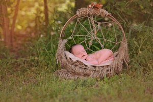Image of Woodsy Wonders,  Rustic, Dream Catcher Hammock Newborn Baby Prop