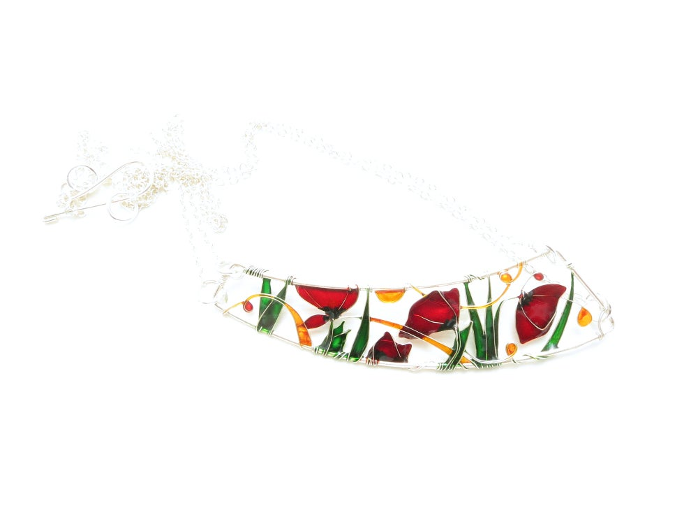 Image of Poppies Silver Necklace