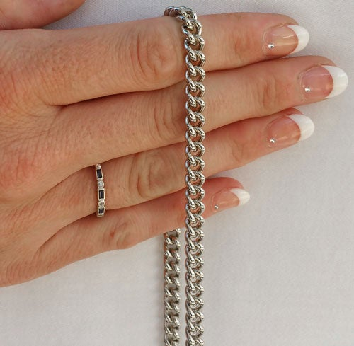 """Image of NICKEL Chain Purse Strap - Mini Classy Curb Chain - 1/4"""" Wide - Choice of Length & Attachable Hooks"""