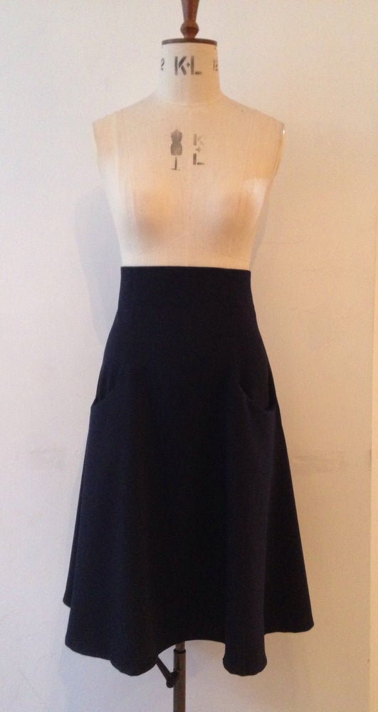 Image of High waist flare skirt with contrast back belt