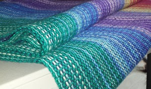 Image of Baby-Wearing Wrap US 5.5 - Rainbow and Navy, Cotton/Linen Blend / Handwoven
