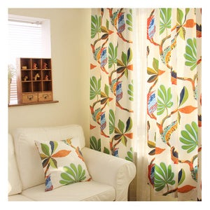 Image of Yellow Floral Curtain Adds Some Warm Feeling In Spring Season
