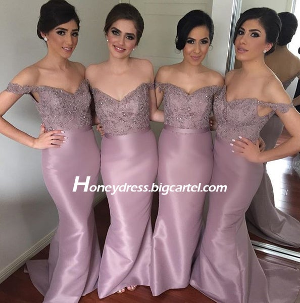Image of Dusty Pink Satin Off The Shoulder Bridesmaid Dress With Sweetheart Neckline