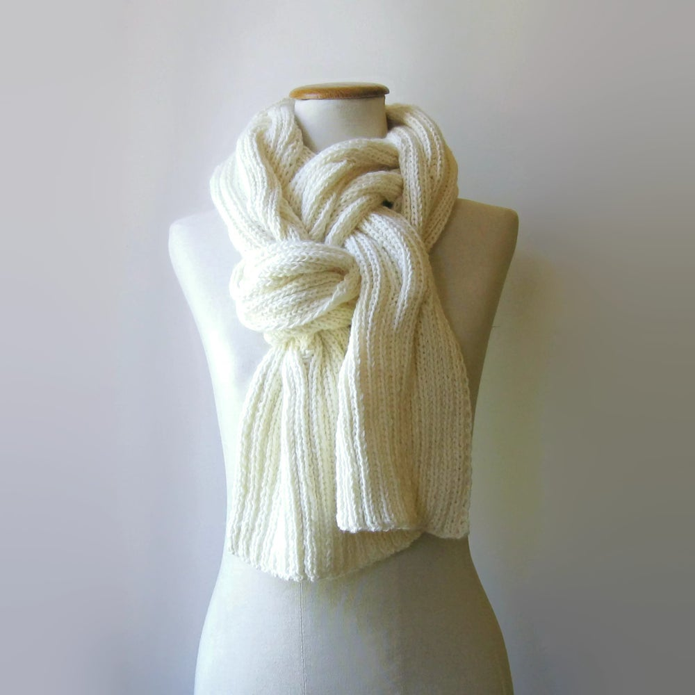 Image of Waves Scarf Hand Knitted in Soft Merino Wool