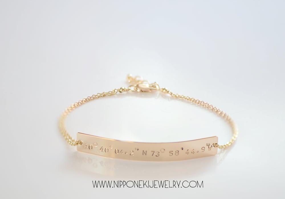 Image of Coordinates Bar Bracelet  in Gold / Sterling Silver or Rose Gold