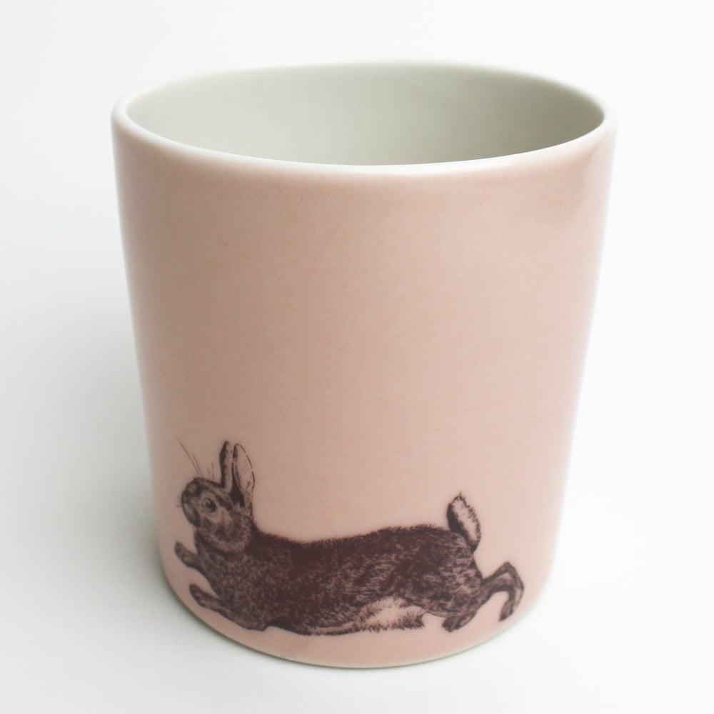 Image of 16oz tumbler with rabbit, rose