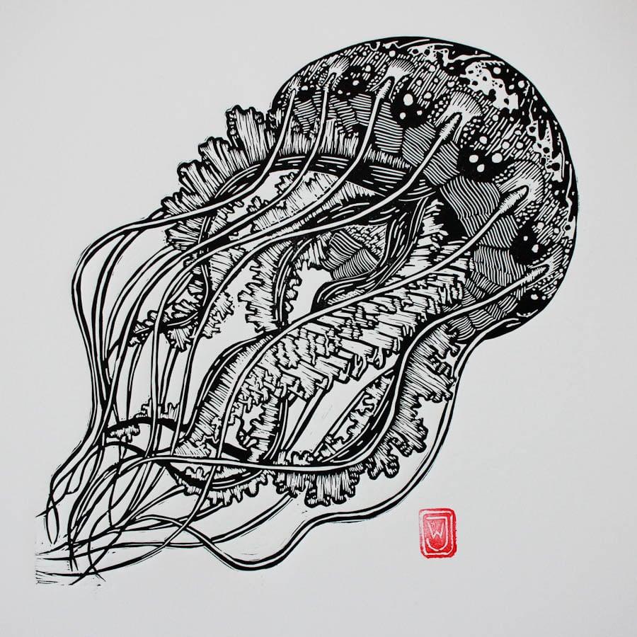 Image of Jellyfish Linocut Print