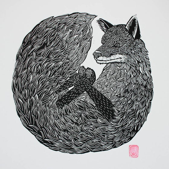 Image of Fox Linocut