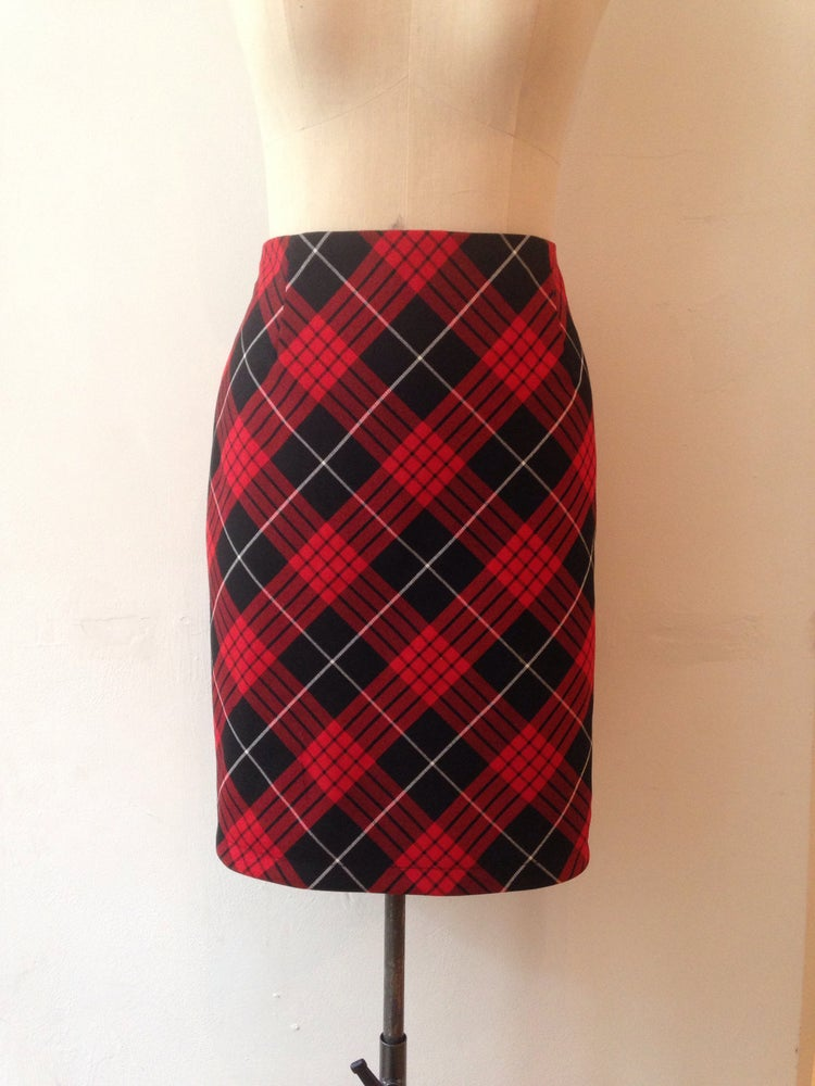 Image of Bias cut Tartan pencil skirt
