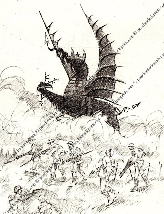 Image of Ghost soldiers at the Mametz Memorial The Somme 1916