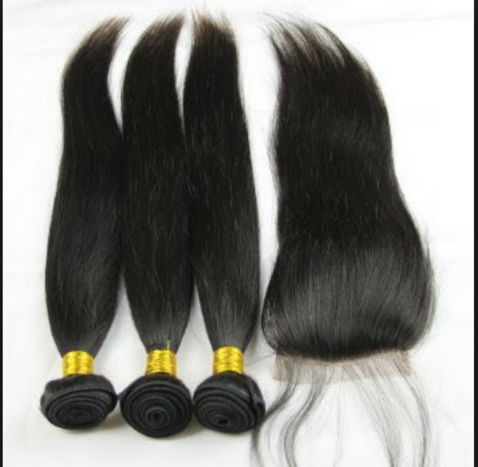 Image of Malaysian Straight 3 Bundles with Lace Closure